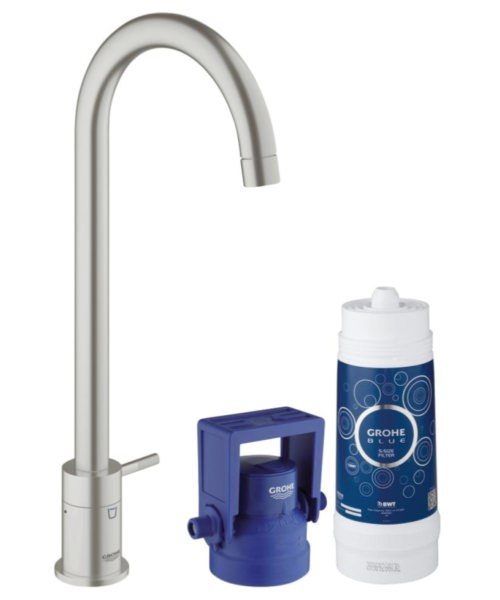 Grohe Blue Mono Pure Kitchen Tap With Starter Kit Supersteel