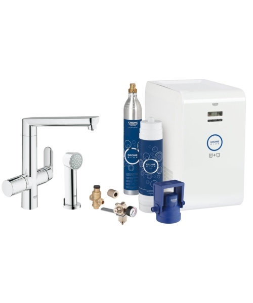 Grohe Blue K7 Kitchen Sink Mixer Tap With Starter Kit Chrome