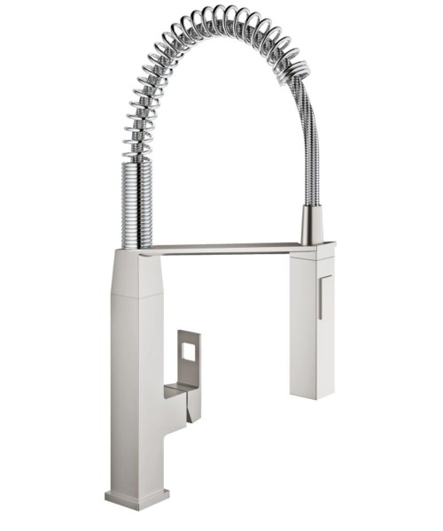 Grohe Eurocube Half Inch Deck Mounted Kitchen Sink Mixer Tap Supersteel
