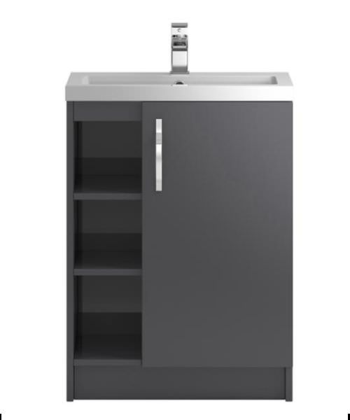 Hudson Reed Apollo 600mm 2 Tier Shelves Cabinet With Basin Gloss Grey