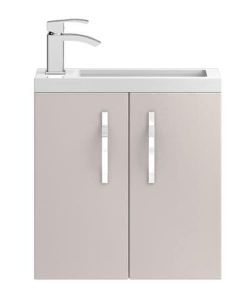 Hudson Reed Apollo Compact 500mm Cashmere Wall Hung Cabinet With Basin