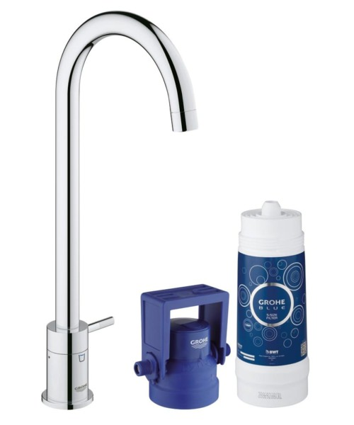Grohe Blue Mono Pure Kitchen Tap With Starter Kit Chrome