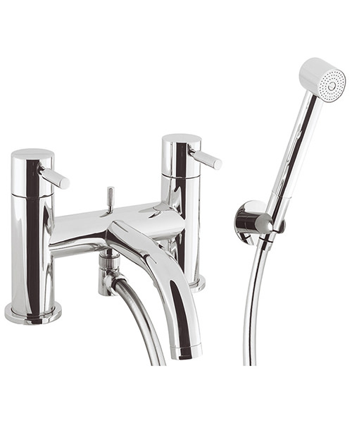 Crosswater Design Deck Mounted Bath Shower Mixer Tap With Kit Chrome
