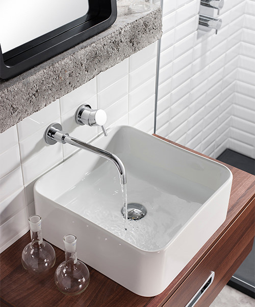 Additional image of Crosswater Kai Lever Wall Mounted Chrome 2 Hole Basin Mixer Tap Set