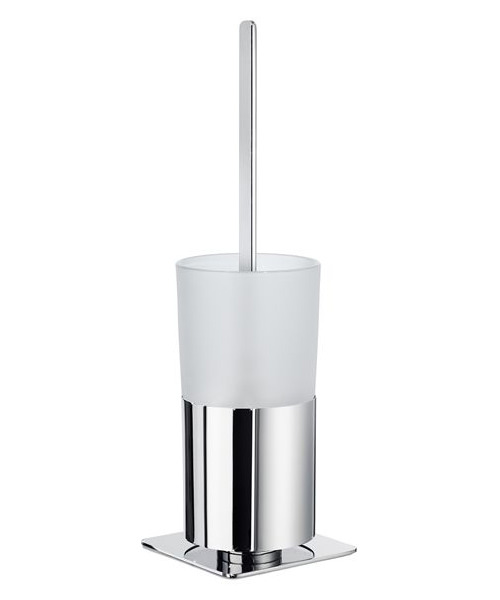 Smedbo Outline Free Standing Toilet Brush Holder With Frosted Glass Container