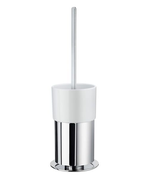 Smedbo Outline Polished Chrome Toilet Brush Free Standing With Porcelain Container