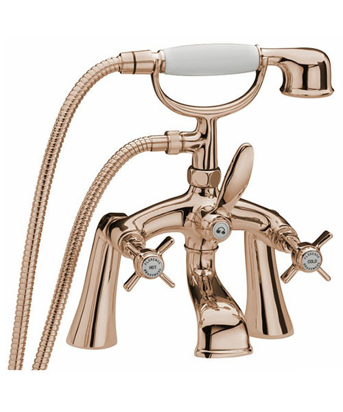 Tre Mercati Florence Pillar Bath Shower Mixer Tap With Shower Kit Antique Gold