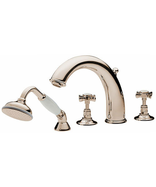 Tre Mercati Imperial Antique Gold 4 Hole Bath Shower Mixer Tap With Kit
