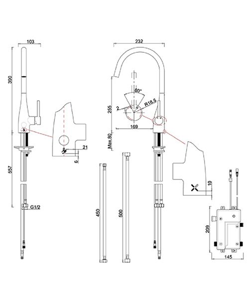 Technical drawing 28500 / COX714DC