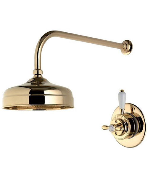 Alternate image of Aqualisa Aquatique Gold 8 Inch Drencher Fixed Head And Wall Arm
