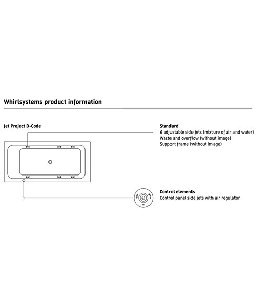 Additional image of Duravit D-Code 1900 x 900mm Built-In Whirltub With Central Outlet
