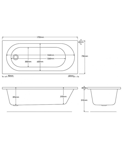Additional image of Trojan Cascade Single Ended 2 Taphole Bath