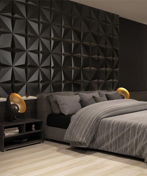 Dune Shapes 1 Origami Black 25 x 25cm Ceramic Wall Tile