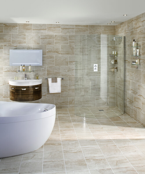 Aqata Spectra SP390 Walk In Curved Shower Screen 1320mm - Left Hand Entry