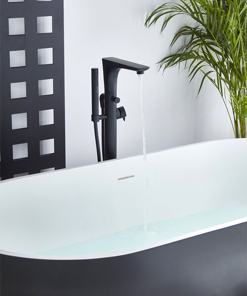 Additional image of Frontline Aquaflow Italia Vibe Black Freestanding Bath Shower Mixer Tap
