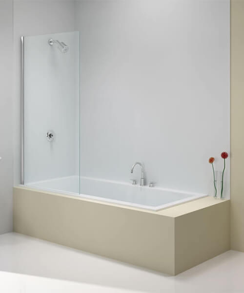 Merlyn Ionic 6mm Glass 800 x 1500mm Fixed Square Bath Screen
