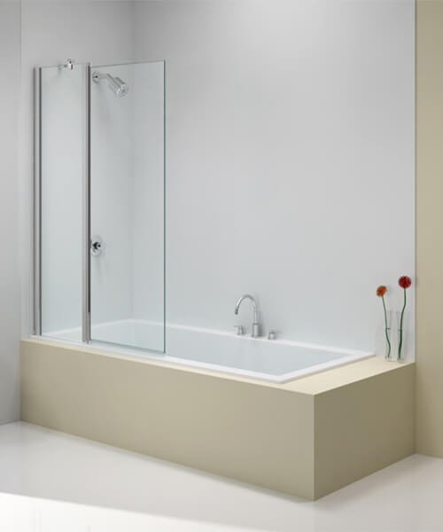 Merlyn Ionic 6mm Glass Two Panel Folding 900 x 1500mm Square Bath Screen