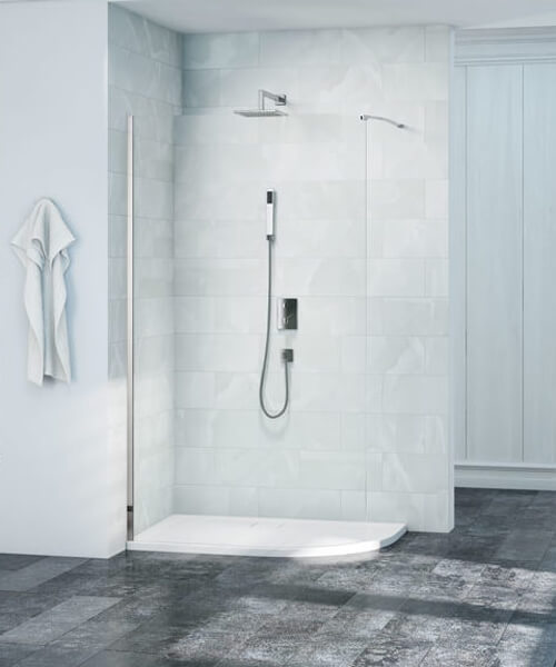 Merlyn 8 Series 8mm Glass Curved Wet Room Panel 900mm Wide S8curv900