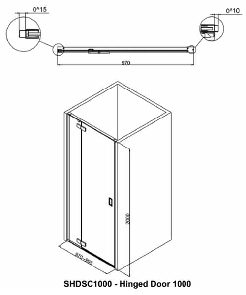 Additional image of Crosswater Svelte Hinged Shower Door 800mm