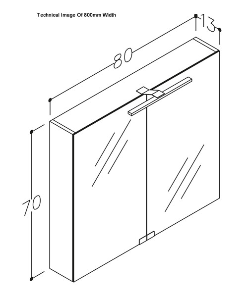 Additional image of Frontline Aquatrend City Mirrored Cabinet