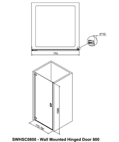 Alternate image of Crosswater Svelte Wall Mounted Hinged Shower Door 800mm
