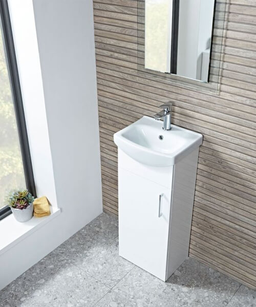 Tavistock Opal 400mm Gloss White Freestanding 1-Door Unit With Basin