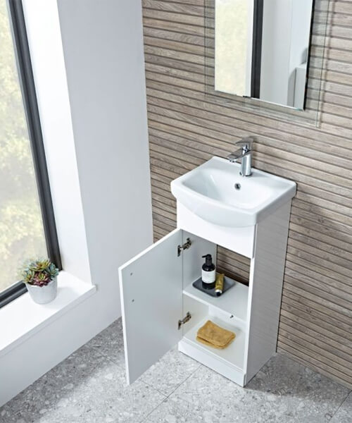 Additional image of Tavistock Opal 400mm Gloss White Freestanding 1-Door Unit With Basin