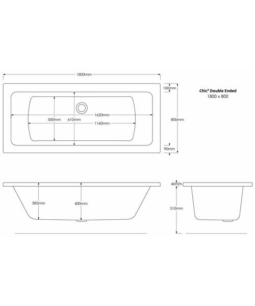 Additional image of Frontline Chic2 1700 x 700mm Square Straight Double Ended Bath