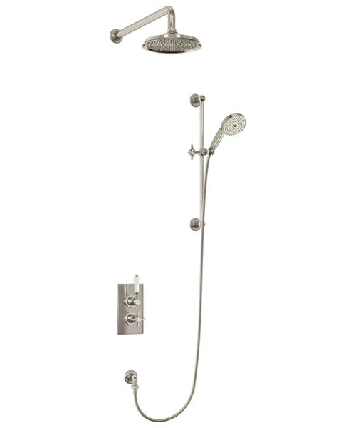 Additional image of Burlington Arcade Thermostatic Two Outlet Concealed Diverter Shower Valve With Rail