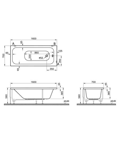 Additional image of VitrA Balance Single Ended Rectangular Bathtub