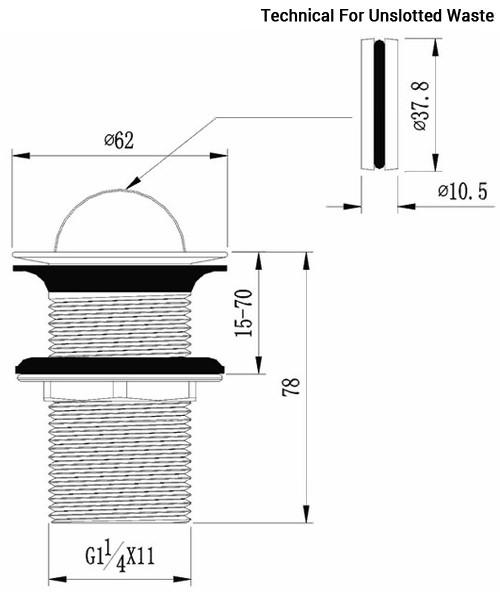Additional image of Flova Flip 62mm Diameter Basin Waste