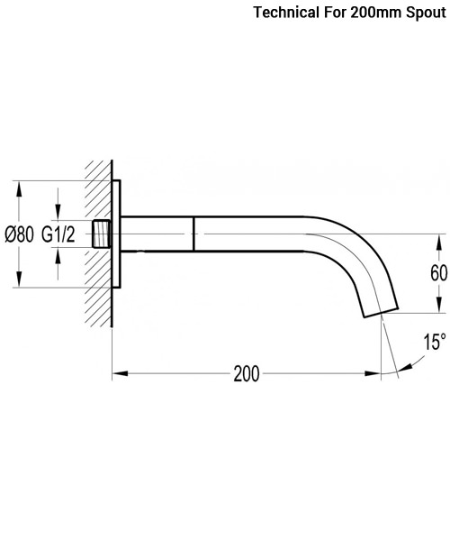 Additional image of Flova Levo Wall Mounted Spout For Basin And Bath
