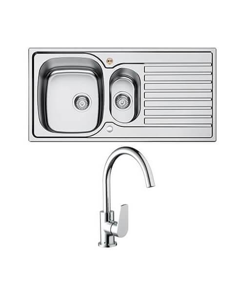 Bristan Inox Easyfit 1.5 Kitchen Sink With Raspberry Tap