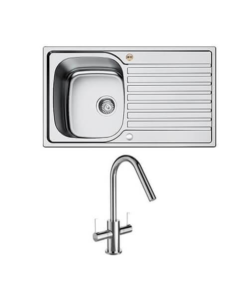 Bristan Inox 1.0 Easyfit Kitchen Sink With Cashew Tap - SK INXRD1 SU CSH
