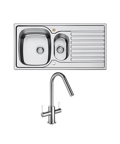 Bristan Inox Easyfit 1.5 Kitchen Sink With Cashew Tap