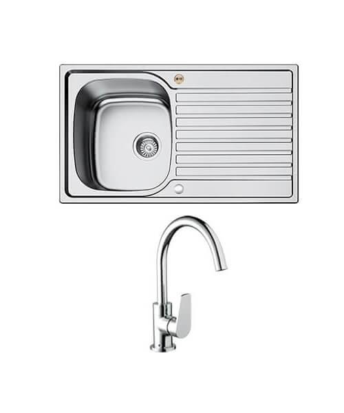 Bristan Inox Easyfit 1.0 Kitchen Sink With Raspberry Tap