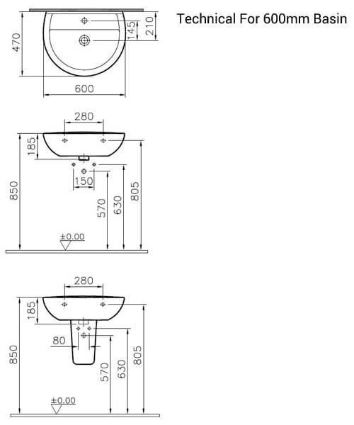 Alternate image of VitrA Layton White Ceramic Washbasin