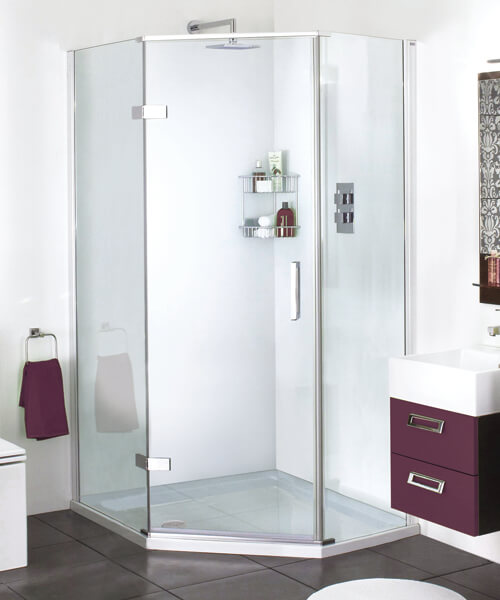 Aqata Spectra SP501 Quintets Hinged Door Shower Enclosure 1200 x 900mm - Offset Large Panel