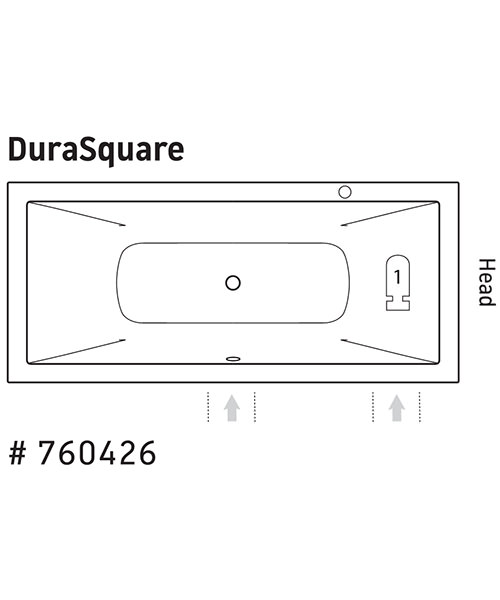 Additional image of Duravit DuraSquare Whirltub Rectangular 1800 x 800mm With Air System