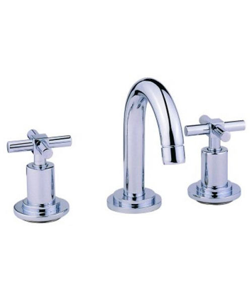 VitrA Uno 3 Hole Basin Mixer Tap With Pop Up Waste
