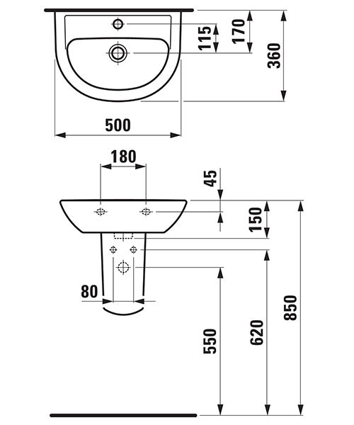 Technical drawing 25715 / 15953WH