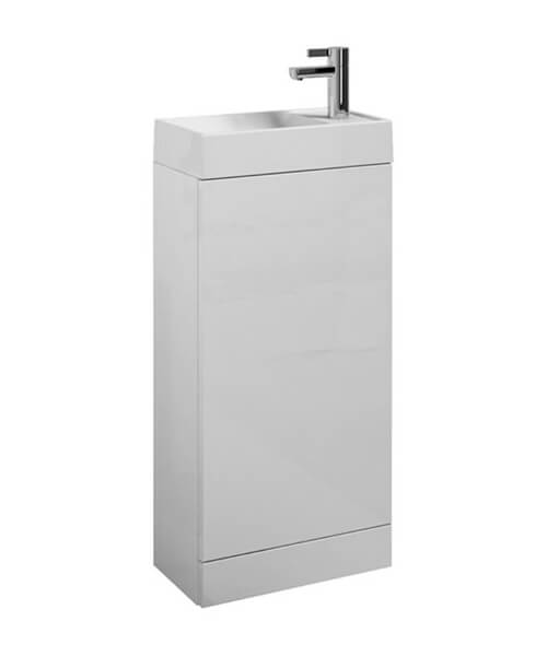 Saneux Quadro White Gloss Floor Mounted Cabinet With Wash Basin