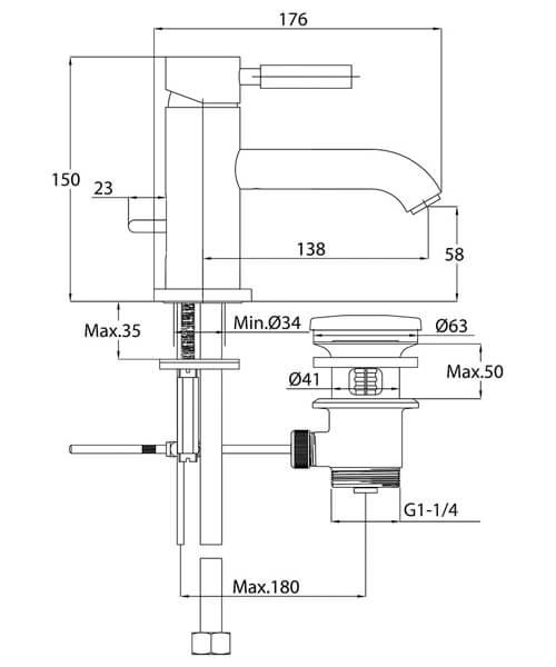 Technical drawing 34800 / TE101