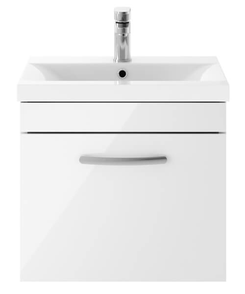 Nuie Premier Athena 50cm Single Drawer Wall Mounted Unit With Washbasin 1