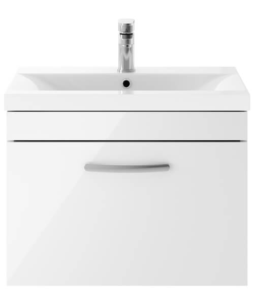 Nuie Premier Athena 600mm 1 Drawer Wall Mounted Cabinet With Basin 2