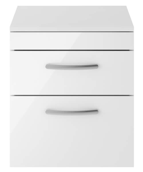 Nuie Premier Athena 500mm Two Drawer Wall Hung Worktop With Cabinet