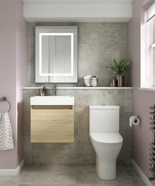 Alternate image of Nuie Premier Merit 500mm Single Door Wall Mounted Sink With Vanity Cabinet