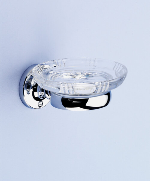 Silverdale Berkeley Luxury Traditional Glass Soap Dish Chrome