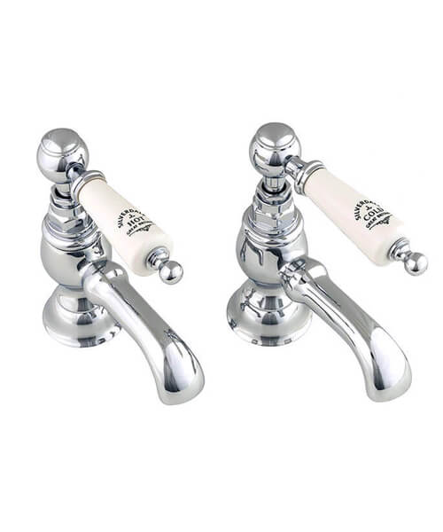 Silverdale Berkeley Pair Of Bath Pillar Tap Chrome And White