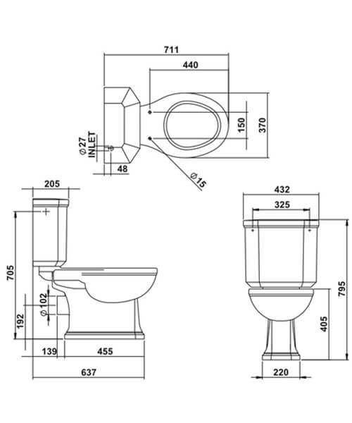 Technical drawing 32887 / EMCLOCC6WHI